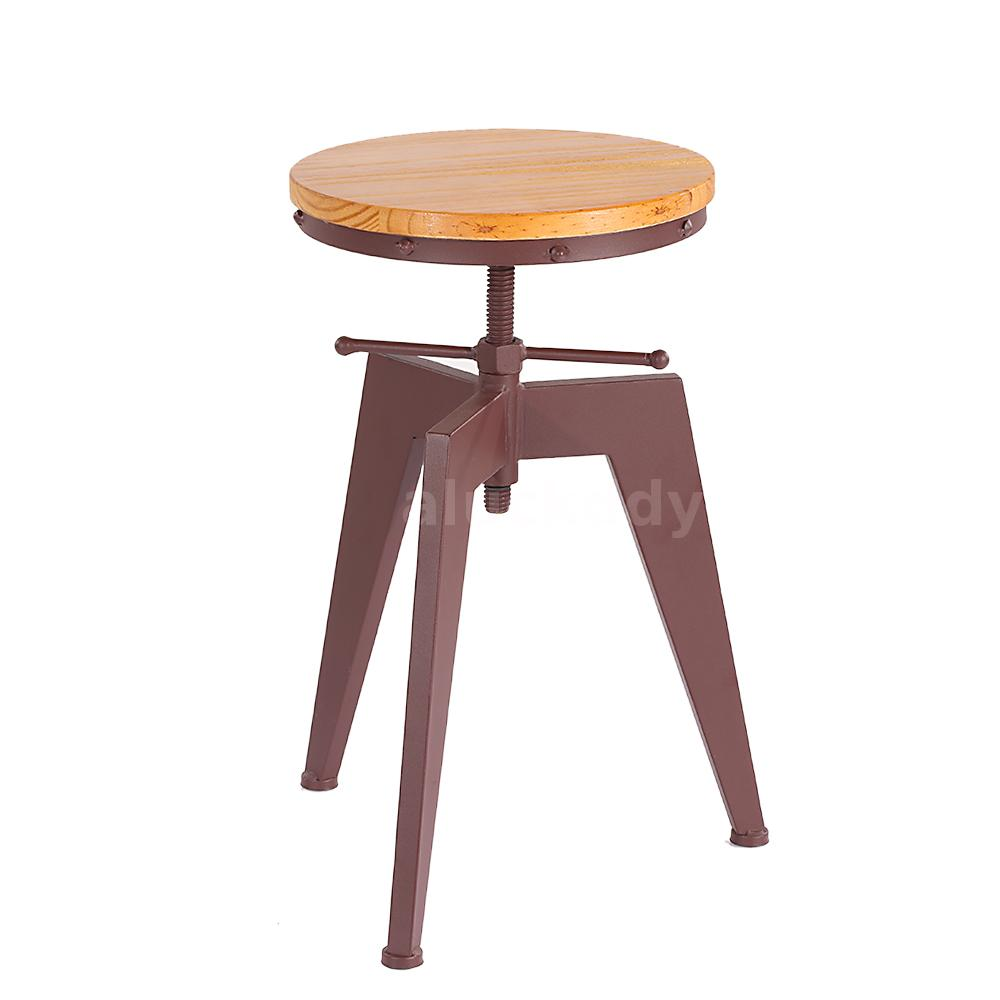 Metal adjustable swivel industrial style wood kitchen for Industrial style kitchen chairs